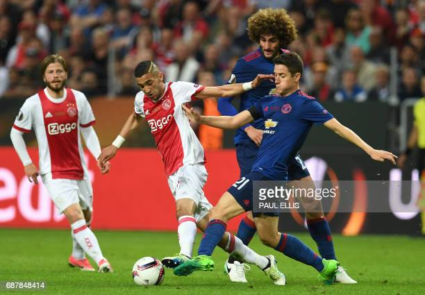 Ajax Dutch defender Kenny Tete and Manchester United's Spanish midfielder Ander Herrera vie for the ball during the UEFA Europa League final football...