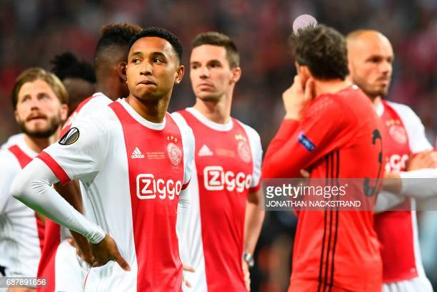 Ajax Dutch defender Kenny Tete reacts after the UEFA Europa League final football match Ajax Amsterdam v Manchester United on May 24 2017 at the...