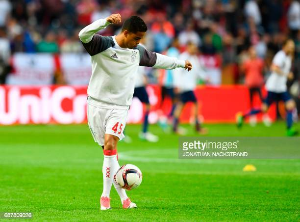 Ajax Dutch forward Justin Kluivert warms up ahead the UEFA Europa League final football match Ajax Amsterdam v Manchester United on May 24 2017 at...