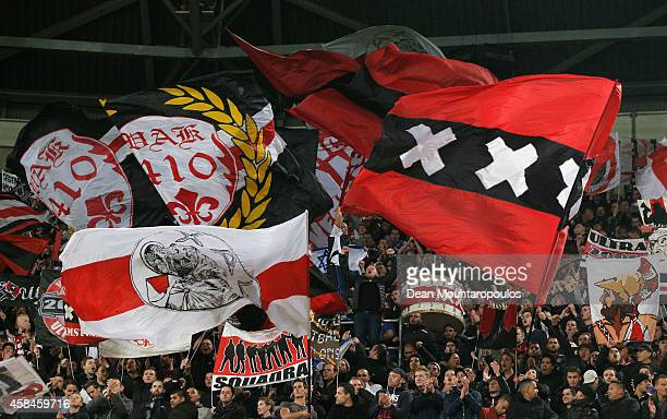Ajax fans show their support prior to the UEFA Champions League Group F match between AFC Ajax and FC Barcelona at The Amsterdam Arena on November 5...