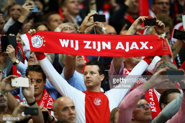 Ajax fans show their support prior to the UEFA Europa League Final between Ajax and Manchester United at Friends Arena on May 24 2017 in Stockholm...