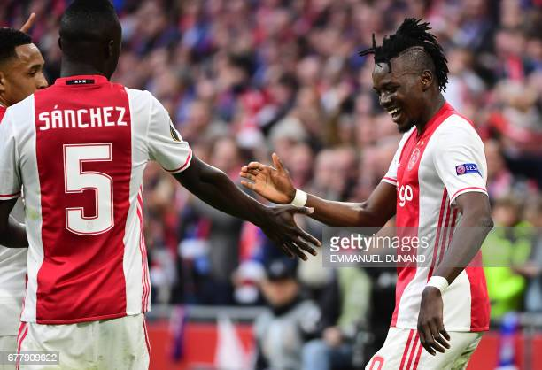 Ajax forward Bertrand Traoré raects after fourth goal during UEFA Europa League semifinal first leg Ajax Amsterdam v Olympique Lyonnais on May 3 2017...