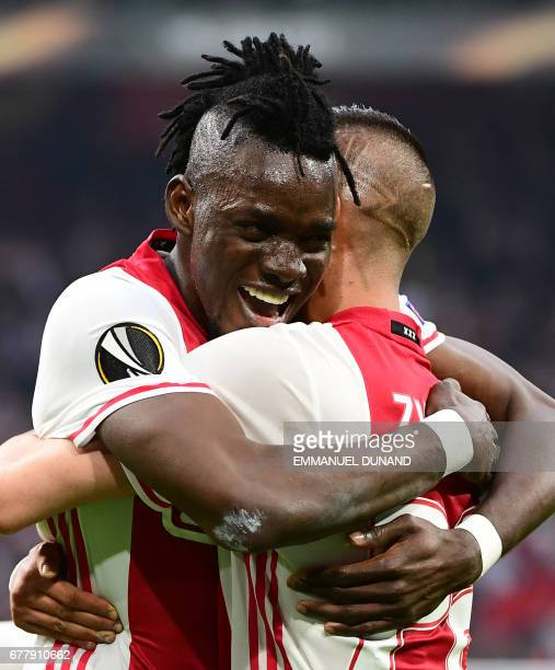Ajax forward Bertrand Traoré reacts after fourth goal during UEFA Europa League semifinal first leg Ajax Amsterdam v Olympique Lyonnais on May 3 2017...