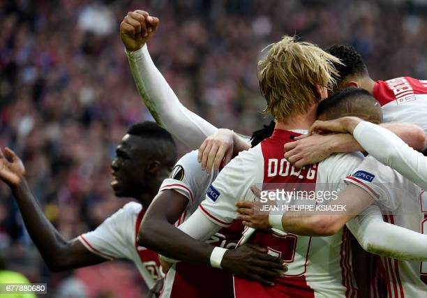 Ajax forward Kasper Dolberg celebrates after scoring a goal during UEFA Europa League semifinal first leg Ajax Amsterdam v Olympique Lyonnais on May...