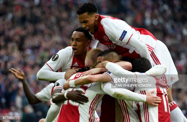 Ajax forward Kasper Dolberg celebrates after scoring a goal during UEFA Europa League semifinal first leg Ajax Amsterdam v Olympique Lyonnais on May...