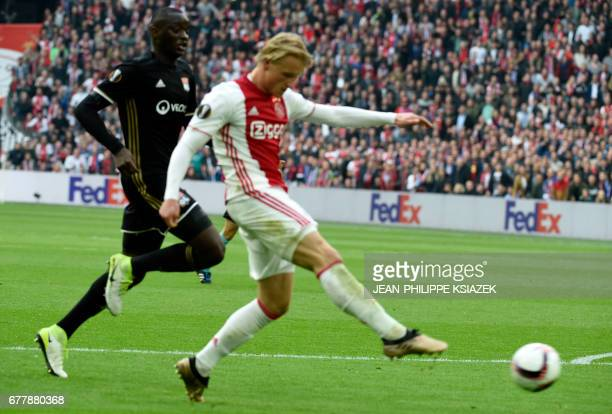 Ajax forward Kasper Dolberg scores a goal during UEFA Europa League semifinal first leg Ajax Amsterdam v Olympique Lyonnais on May 3 2017 in...