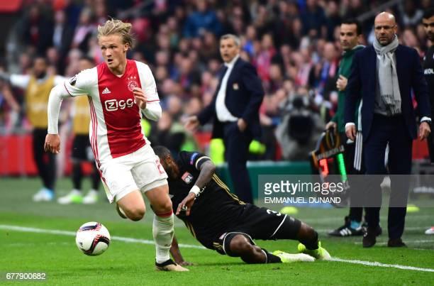 Ajax forward Kasper Dolberg vies during UEFA Europa League semifinal first leg Ajax Amsterdam v Olympique Lyonnais on May 3 2017 in Amsterdam / AFP...