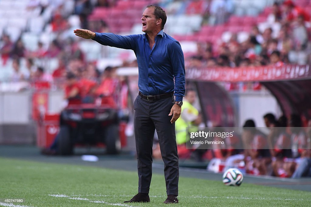 Ajax head coach <a gi-track='captionPersonalityLinkClicked' href=/galleries/search?phrase=Frank+De+Boer&family=editorial&specificpeople=1006742 ng-click='$event.stopPropagation()'>Frank De Boer</a> reacts during the Eusebio Cup match between SL Benfica and Ajax at Estadio da Luz on July 26, 2014 in Lisbon, Portugal.