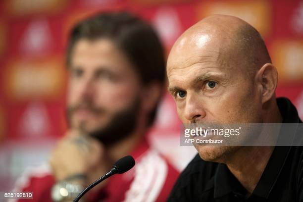 Ajax' head coach Marcel Keizer addresses a press conference at Amsterdam Arena in Amsterdam on August 1 a day ahead of UEFA Champions League football...