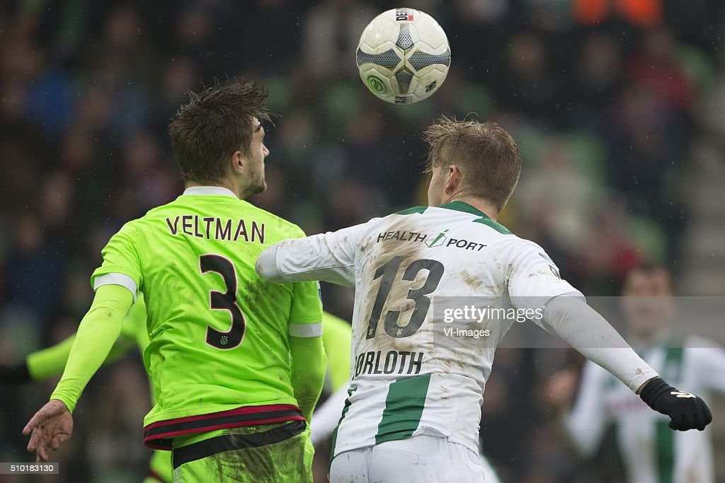 , Ajax, Joel Veltman of AFC Ajax, Alexander Sorloth of FC Groningen, during the Dutch Eredivisie match between FC Groningen and Ajax Amsterdam at Euroborg on February 14, 2016 in Groningen, The Netherlands