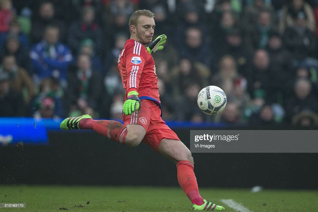 , Ajax, Keeper Jasper Cillessen of AFC Ajax, during the Dutch Eredivisie match between FC Groningen and Ajax Amsterdam at Euroborg on February 14, 2016 in Groningen, The Netherlands