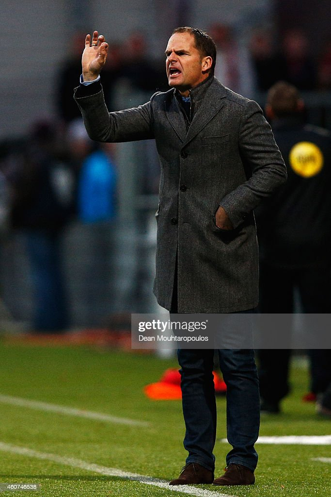 Ajax Manager / coach, Frank de Boer gives his players instructions during the Dutch Eredivisie match between S.B.V. Excelsior Rotterdam and Ajax Amsterdam held at the Woudestein Stadium on December 21, 2014 in Rotterdam, Netherlands.