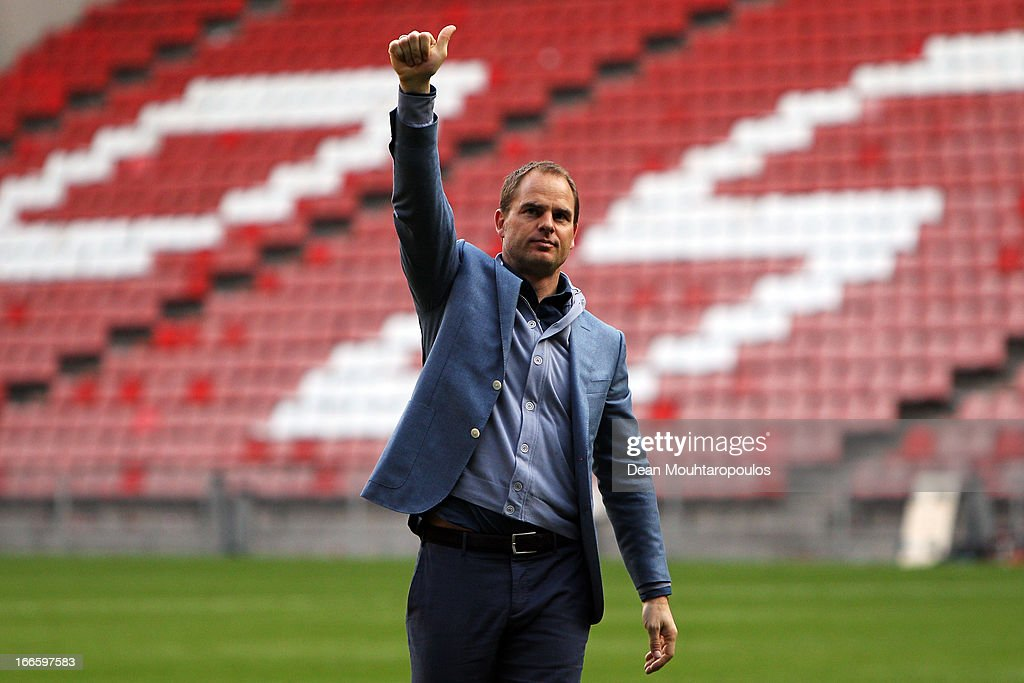 Ajax manager/coach, Frank de Boer thanks the Ajax fans after victory in the Eredivisie match between PSV Eindhoven and Ajax Amsterdam at Philips Stadion on April 14, 2013 in Eindhoven, Netherlands.