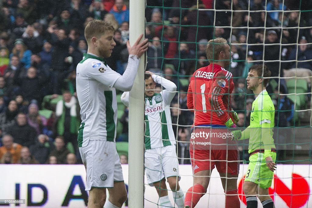 , Ajax, Michael de Leeuw of FC Groningen, Jesper Drost of FC Groningen, Keeper Jasper Cillessen of AFC Ajax, during the Dutch Eredivisie match between FC Groningen and Ajax Amsterdam at Euroborg on February 14, 2016 in Groningen, The Netherlands