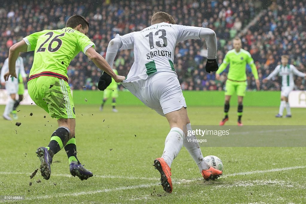 , Ajax, Nick Viergever of AFC Ajax, Alexander Sorloth of FC Groningen, during the Dutch Eredivisie match between FC Groningen and Ajax Amsterdam at Euroborg on February 14, 2016 in Groningen, The Netherlands
