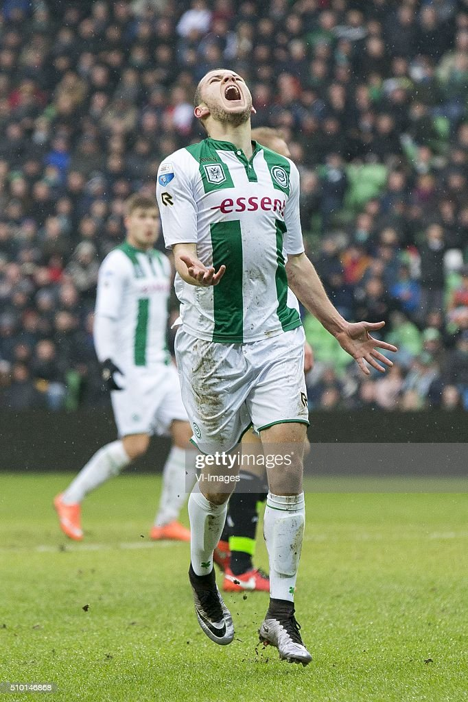 , Ajax, Oussama Idrissi of FC Groningen, during the Dutch Eredivisie match between FC Groningen and Ajax Amsterdam at Euroborg on February 14, 2016 in Groningen, The Netherlands