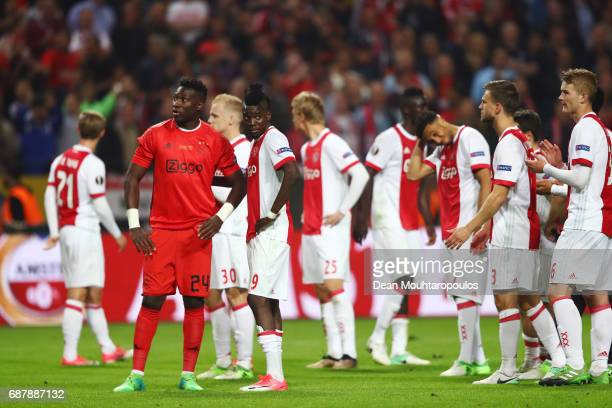 Ajax players look dejected following defeat in the UEFA Europa League Final between Ajax and Manchester United at Friends Arena on May 24 2017 in...