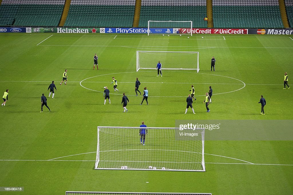Ajax squad training at Celtic Park ground during the Champions League match between Celtic FC and Ajax Amsterdam on October 22, 2013 at the Celtic Park in Glasgow, Scotland