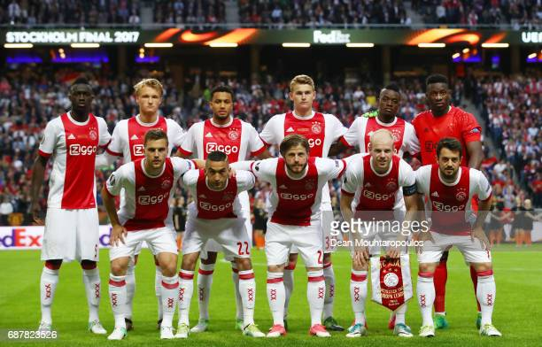Ajax team line up prior to the UEFA Europa League Final between Ajax and Manchester United at Friends Arena on May 24 2017 in Stockholm Sweden