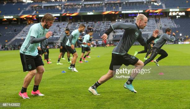 Ajax team train during a training session at The Friends Arena ahead of the UEFA Europa League Final between Ajax and Manchester United at Friends...