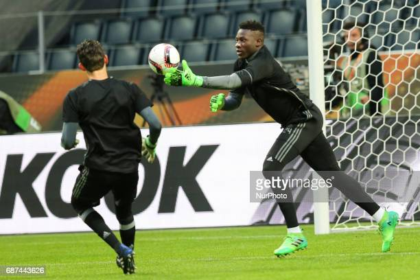 Ajax's English goalkeeper Andre Onana during a training session at The Friends Arena ahead of the UEFA Europa League Final between Ajax and...