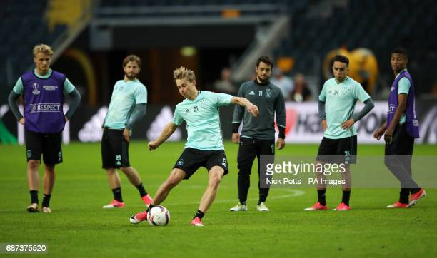 Ajax's Frenkie de Jong during the training session at the Friends Arena Stockholm in Sweden ahead of the Europa League Final against Manchester...