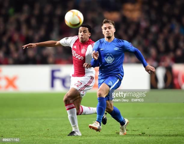 Ajax's Jairo Riedewald and Molde FK's Fredrik Gulbrandsen battle for the ball