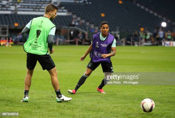 Ajax's Justin Kluivert during the training session at the Friends Arena Stockholm in Sweden ahead of the Europa League Final against Manchester...