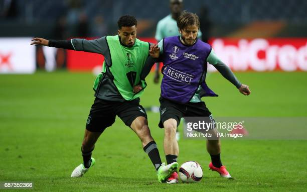 Ajax's Kenny Tete and Lasse Schone during the training session at the Friends Arena Stockholm in Sweden ahead of the Europa League Final against...
