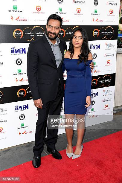 Ajay and Nysa Devgn arrive at the opening night of the London Indian Film Festival at Cineworld Cinemas on July 14 2016 in London England
