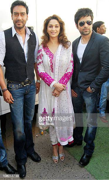 Ajay Devgan and Emraan Hashmi with Madhuri Dixit during a promotional event of the film Dil to Bacha Hai Jee in TV show Jhalak Dikhla Jaa in Mumbai...
