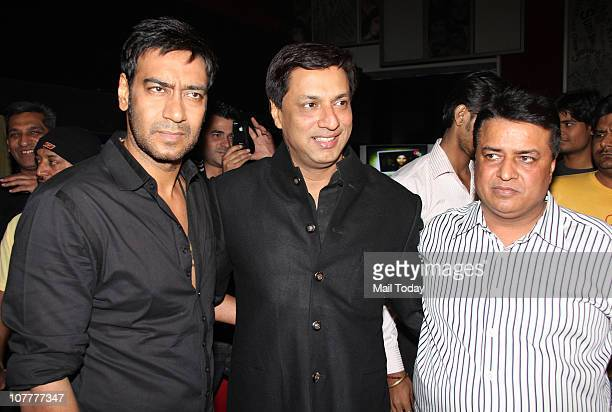 Ajay Devgan and Madhur Bhandarkar at the music launch of film Dil To Baccha Hai Ji in Mumbai