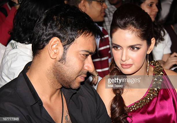 Ajay Devgan and Shazahn Padamsee at the music launch of film Dil To Baccha Hai Ji in Mumbai