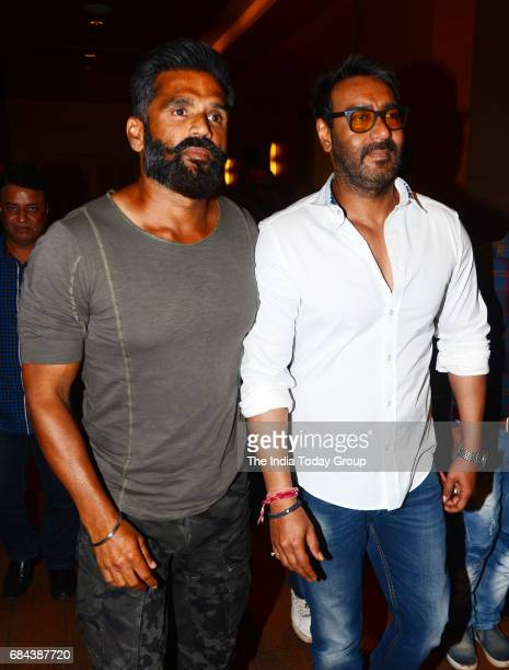 Ajay Devgan and Suniel Shetty during the launch of Tata Sky Acting Adda in Mumbai
