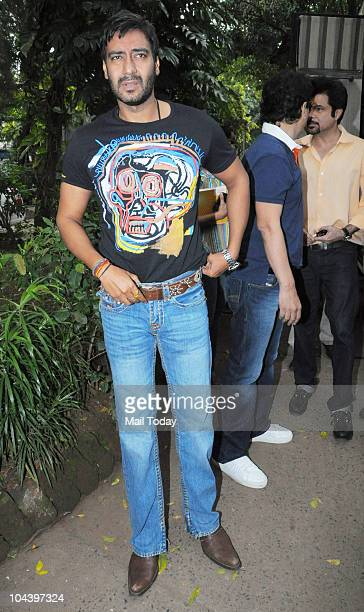 Ajay Devgan at a joint press conference on September 23 2010 in Mumbai in an appeal to Indian people to maintain peace on the verdict of the Babri...