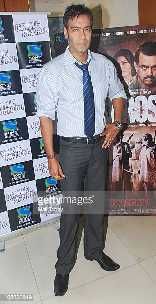 Ajay Devgan at a promotional event in Mumbai on October 7 2010