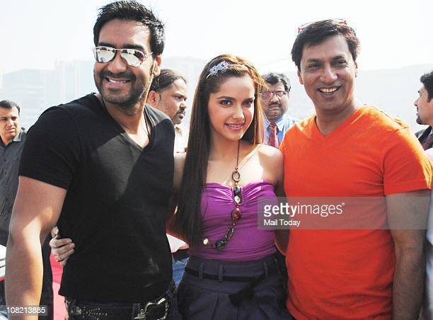 Ajay Devgan Shazahn Padamsee and Madhur Bhandarkar along with cast of the movie Dil Toh Bacha Hai Jee at the inauguration of 'Mumbai International...