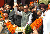 Ajay Maken with former Delhi Chief Minister Sheila Dikshit and other party leaders is garlanded after taking charge as the Delhi Pradesh Congress...