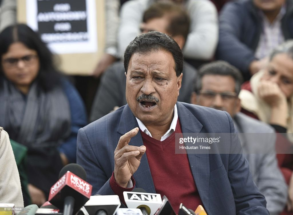 Ajay Patnaik, JNU teachers' association president, during a press conference at JNU campus, on February 14, 2016 in New Delhi, India. Patnaik said that the university is very progressive and always gives space to the marginalised section of the society. Jawaharlal Nehru University (JNU) teachers association said that they have never supported any unconstitutional activity inside the campus and have always opposed it.