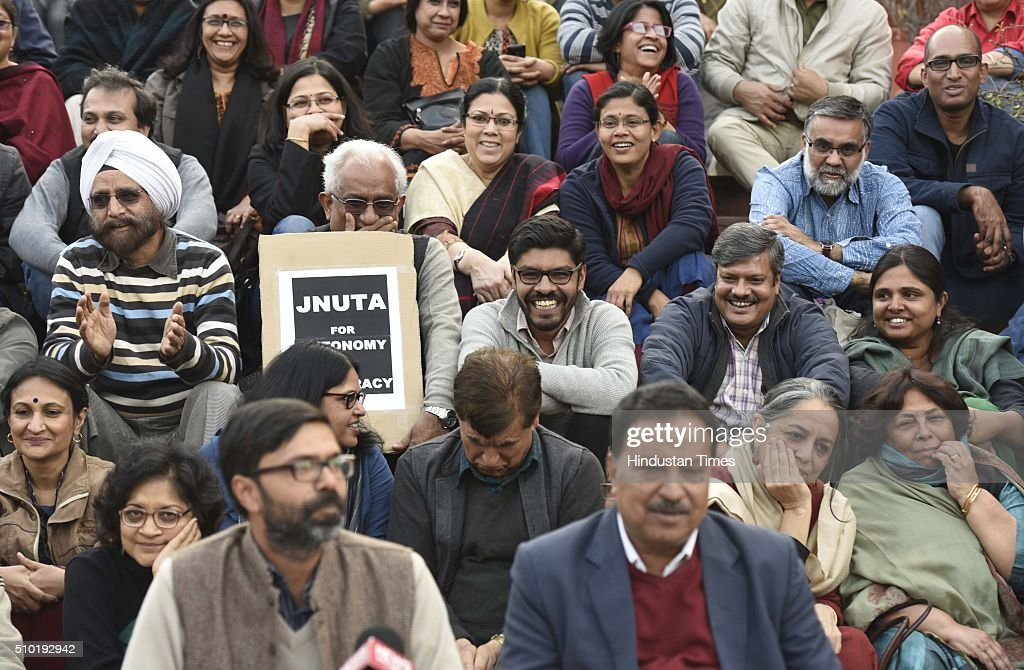 Ajay Patnaik, JNU teachers' association president, with Vikramaditya, secretary, JNUTA (L) during a press conference at JNU campus, on February 14, 2016 in New Delhi, India. Patnaik said that the university is very progressive and always gives space to the marginalised section of the society. Jawaharlal Nehru University (JNU) teachers association said that they have never supported any unconstitutional activity inside the campus and have always opposed it.