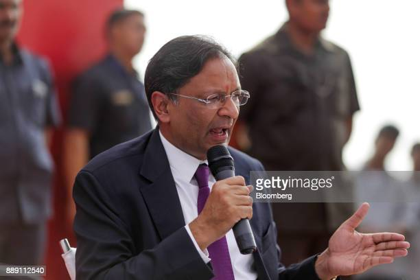 Ajay Singh chairman and cofounder of Spicejet Ltd speaks during a demonstration flight event for a Quest Aircraft Co amphibiousKodiakplane operated...