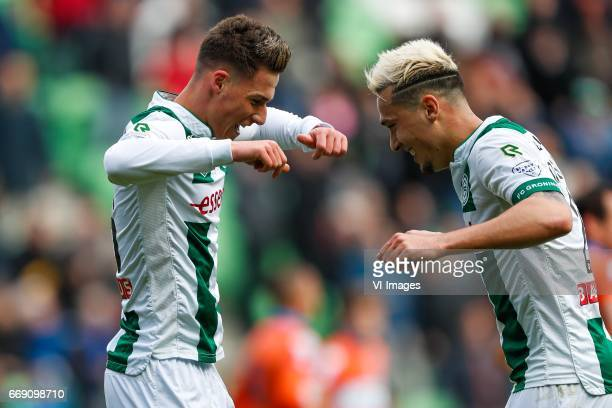 Ajdin Hrustic of FC Groningen Jason Davidson of FC Groningenduring the Dutch Eredivisie match between FC Groningen and PEC Zwolle at Noordlease...