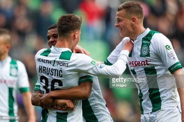 Ajdin Hrustic of FC Groningen Juninho Bacuna of FC Groningen Samir Memisevic of FC Groningenduring the Dutch Eredivisie match between FC Groningen...