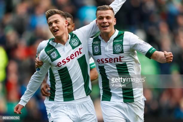 Ajdin Hrustic of FC Groningen Samir Memisevic of FC Groningenduring the Dutch Eredivisie match between FC Groningen and PEC Zwolle at Noordlease...