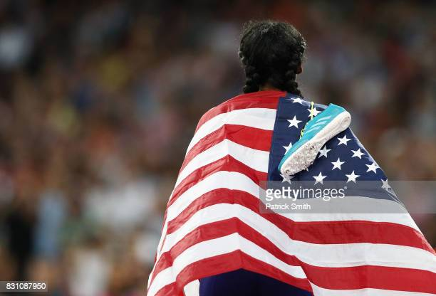 Ajee Wilson of the United States celebrates after winning bronze in the Women's 5000 metres final during day ten of the 16th IAAF World Athletics...