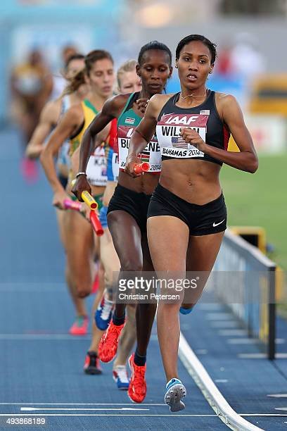 Ajee Wilson of the United States competes in the Women's 4x800 metres relay final during day two of the IAAF World Relays at the Thomas Robinson...