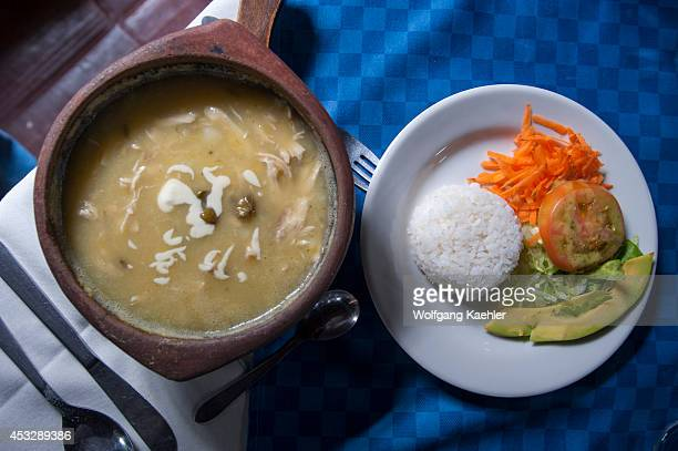 Ajiaco soup with rice and salad Bogota Colombia