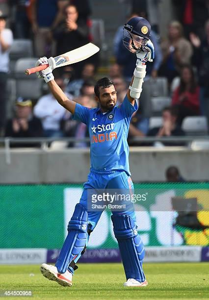Ajinka Rahane of India celebrates his century during the 4th Royal London OneDay International match between England and India at Edgbaston on...