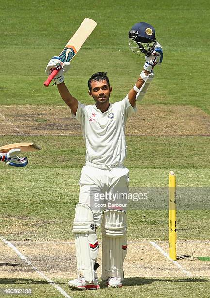 Ajinkya Rahane celebrates after reaching his century during day three of the Third Test match between Australia and India at Melbourne Cricket Ground...