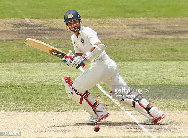 Ajinkya Rahane of India bats during day three of the Third Test match between Australia and India at Melbourne Cricket Ground on December 28 2014 in...